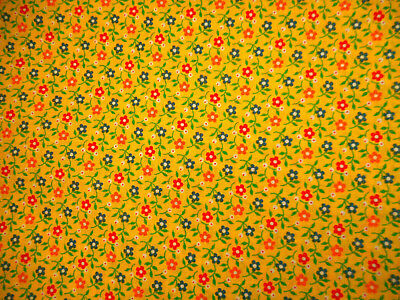 Vintage 1960s Calico Fabric By Yard Red Blue Orange Grn Floral on Yellow Cotton