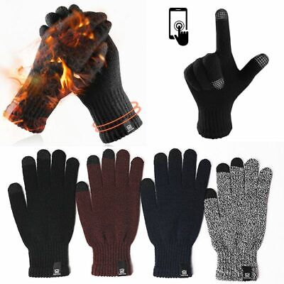Men Women Winter Gloves Windproof Warm Thick Knit Touch Screen Thermal Gloves