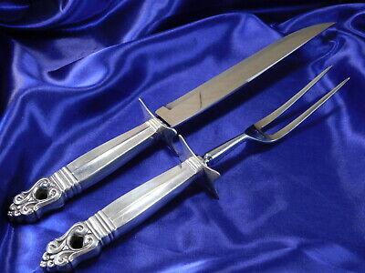 International Royal Danish Sterling Silver Carving Set Large - Very Good