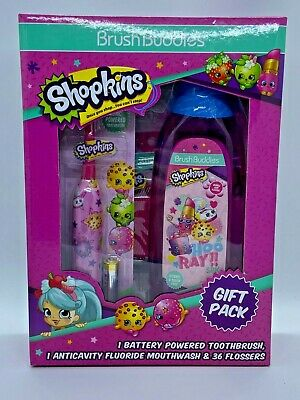 Shopkins Toothbrush Mouthwash & Flosser Brush Buddies Gift Pack Battery Powered