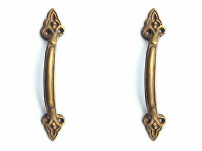 """2 small PULLS """"D"""" handle Small heavy 100% SOLID BRASS old style door 5"""" aged B"""