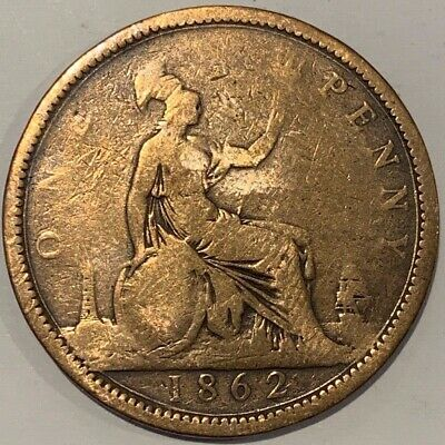 1862 Great Britain GB UK England Penny Victoria Coin