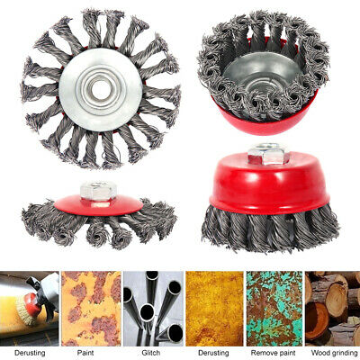 """4 pcs Twist Knot Wire Wheel Cup Brush 3"""" (75mm) and 4"""" (100mm) Angle Grinder"""