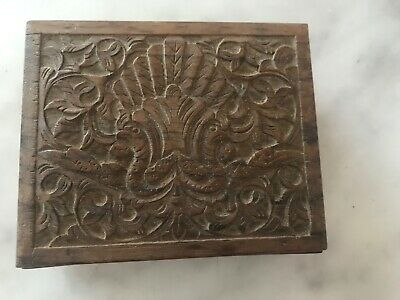 Vintage Small Hand Carved Wooden Box Hinged Lid Old Trinket/ Jewellery Box