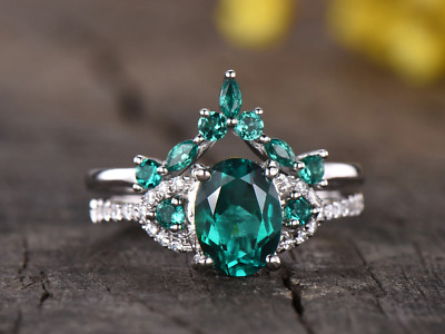14k White gold solid 6x8mm Oval cut emerald Antique Wedding engagement ring set