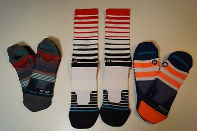 Lot of 3 Stance Mens Fusion & Tab Socks Size Large Lg, Grade B Socks, Athletic