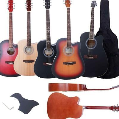 "4 Color 41"" Adult Glarry Spruce Wood 6 String Cutaway Acoustic Guitar w/ Bag UK"