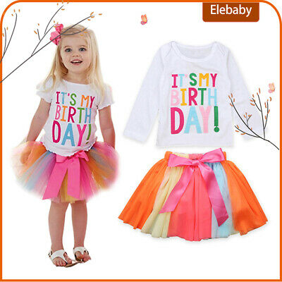 It's My Birthday Unicorn Princess Kids Girls Tutu Skirt Tulle Party Outfit Gifts