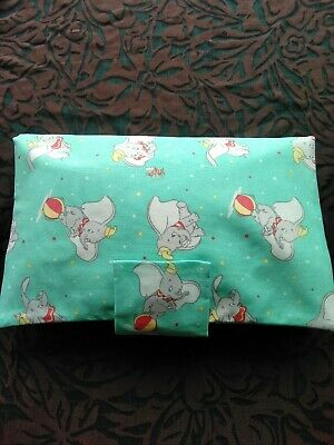 Handmade Nappy & Wipes Wallet Holder Bag Case Dumbo Fabric