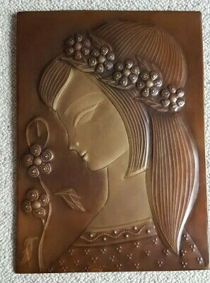 Vintage Copper Wall Plaque USSR  portrait of beautiful women with flower