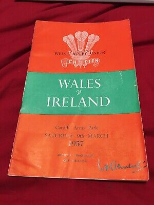 1957 Wales V Ireland Five Nations International Rugby Union Programme
