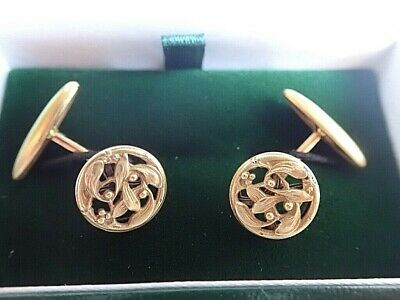 c1900 Fine Antique FRENCH ART NOUVEAU 18K Gold Cufflinks MISTLETOE Savard