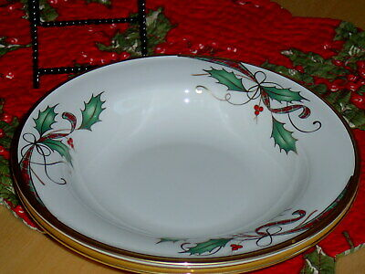 2 Lenox Holiday Nouveau Gold Rimmed Pasta / Soup bowls - new FIRST QUALITY  RARE