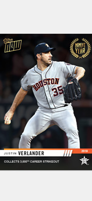 2019 Topps Now Moment Of The Year Card Houston Astros Justin Verlander #Moy-17