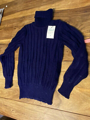 VINTAGE 70's CHILDRENS BLUE ROLL NECK KNIT  SWEATER JUMPER RETRO AGE 8