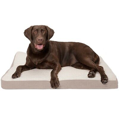 Orthopedic Dog Bed Pet Lounger Deluxe Cushion for Crate Foam Soft Plush - Large
