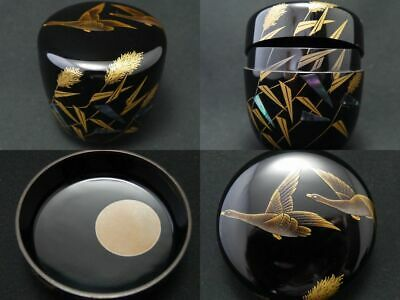 Japan Lacquer Wooden Tea caddy Phragmites Wild Geese makie RIKYU-Natsume (1121)