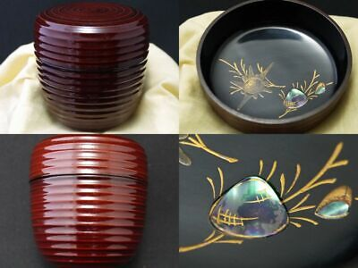 Japanese Lacquer Wooden Tea caddy GEODUCK makie Chu-Natsume Stripe shaped (1121)