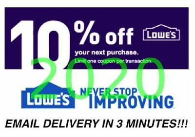 3  Lowes 10 percent OFF Promotion 3Coupons Discount  IN STORE ONLY Fast Delivery