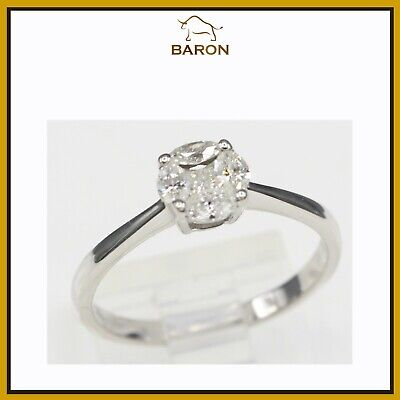 Classic Diamond Ring 18K White Gold  Cluster Setting Ring Size 7.75 Cute Style