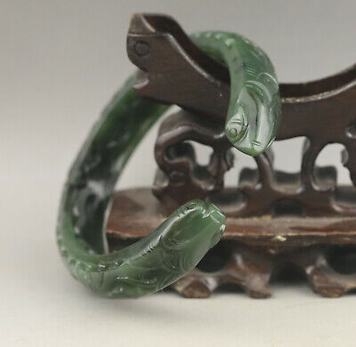 Natural hetian green jade bracelet hand carved double dragon bangle certificate