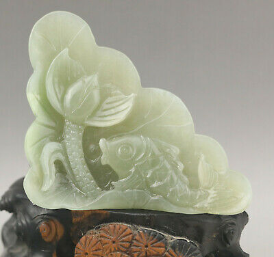Old Chinese natural hetian jade hand-carved fish and lotus flower
