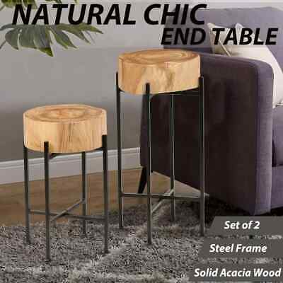 vidaXL 2 Pieces Solid Acacia Wood Side Table Set Plant Stand End Side Table