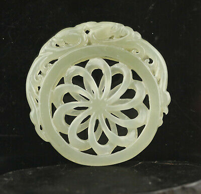 China old natural hetian jade hand-carved flower pendant