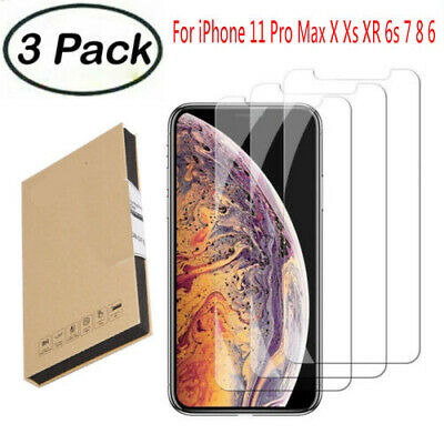 For iPhone 11 Pro Max X XS XR 8 7 6 + Cover Screen Protector Tempered Glass Lot