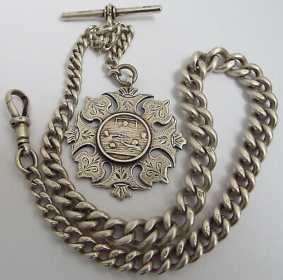 SUPERB HEAVY 61g ENGLISH ANTIQUE 1901 SOLID STERLING SILVER ALBERT CHAIN & MEDAL