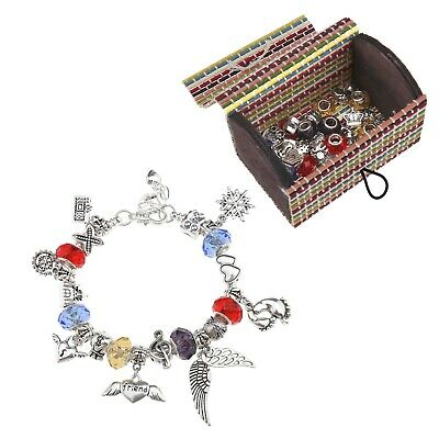 66pcs Charm Bracelet Chain DIY Bead Making Set Craft Birthday Party Gift Kids