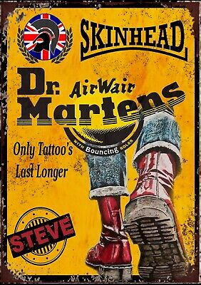 Skin Head Dr Martens Air Wair Advertising Vintage Retro Metal Sign--ANY NAME!