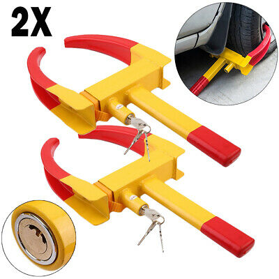 2X Heavy Duty Wheel Clamp Lock Car Trailer Caravan Security AntiTheft Locking YY