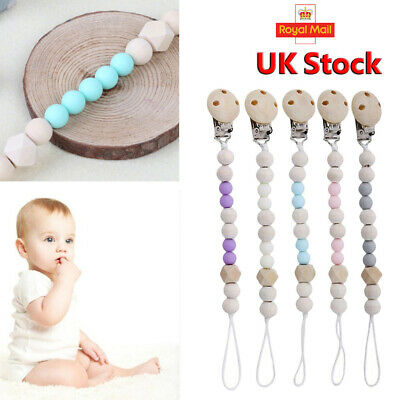 Baby Infant Wooden Beaded Pacifier Holder Clip Nipple Teether Dummy Strap LC