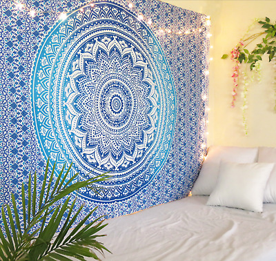 Indian Queen Ombre Mandala Tapestry Wall Hanging Throw Dorm Bed Cover Blue Boho
