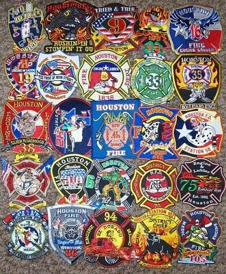 *CLEARANCE*  Houston - 25 Total Fire Patch Set # 2  NO DUPLICATES IN SET