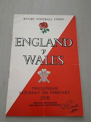 1970 England V Wales Five Nations Champions International Rugby Union Programme