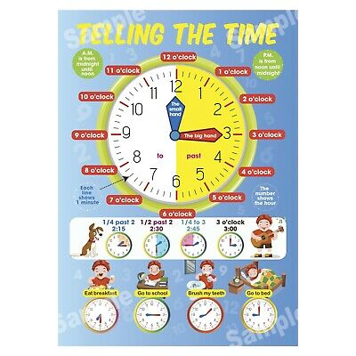 Telling The Time Poster First Learning Educational Wall Charts Kids Boy Children