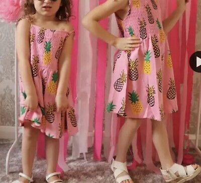 Age 3-4 Girls Dress Pink Pineapple Shirring Sleeveless Tunic Party Outfit DW74