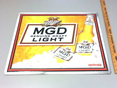 Miller beer sign Genuine Draft Light metal tin tacker brewery bar vintage HG2