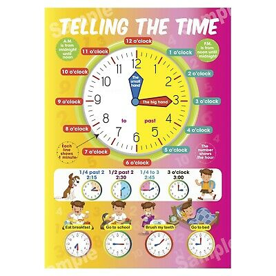 Telling The Time Poster First Learning Educational Wall Chart Kids Girl Children