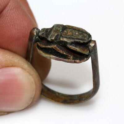 Roman Era Egyptian Bronze Scarab Ring Circa 100-400 Ad