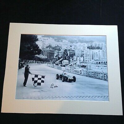 "F1 Legend Stirling Moss - Genuine Hand Signed Picture Mounted to 16"" x 20"" + COA"