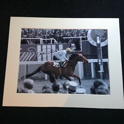 "Jockey Legend - Willie Carson on Troy Hand Signed Picture Mounted 16"" x 20""+ COA"