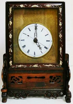 Rare Antique Chinese Carved Rosewood 8 Day Double Fusee Verge Bracket Clock