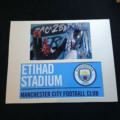 Manchester City - Pep Guardiola Genuine Hand Signed with Metal Street Sign + COA