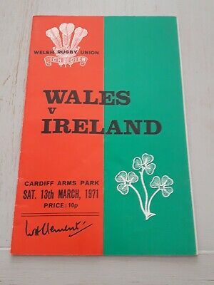 1971 Wales V Ireland Five Nations Grand Slam International Rugby Programme