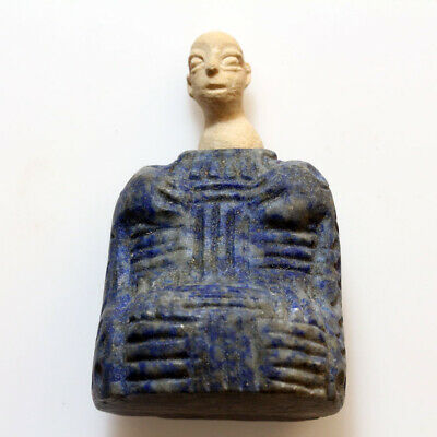 Ancient Bactrian Lapis Lazuli Stone Temple Diety Idol Statue-Circa 200Bc-200 Ad