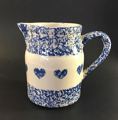 Roseville, Ohio Pottery Blue Spongeware 32 oz. Pitcher with Hearts