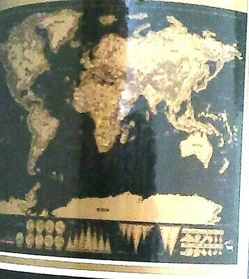 NEW Deluxe Black Scratch Off World Map ABOUT 32.5''X23.4'' INCHES